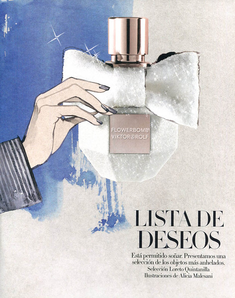 VIKTOR & ROLF Flowerbomb Crystal Eau de Parfum Limited Edition 2013 Spain (advertorial Harper's Bazaar) ILLUSTRATOR Alicia Malesani