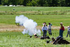 This is the smallest mortar being fired. You can see the cannon ball at the end of the smoke.