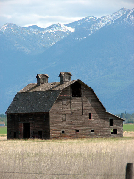 May 26, 2008 - (South Valley ponds / Somers, Flathead County, Montana) -- Barn with Mountain Backdrop