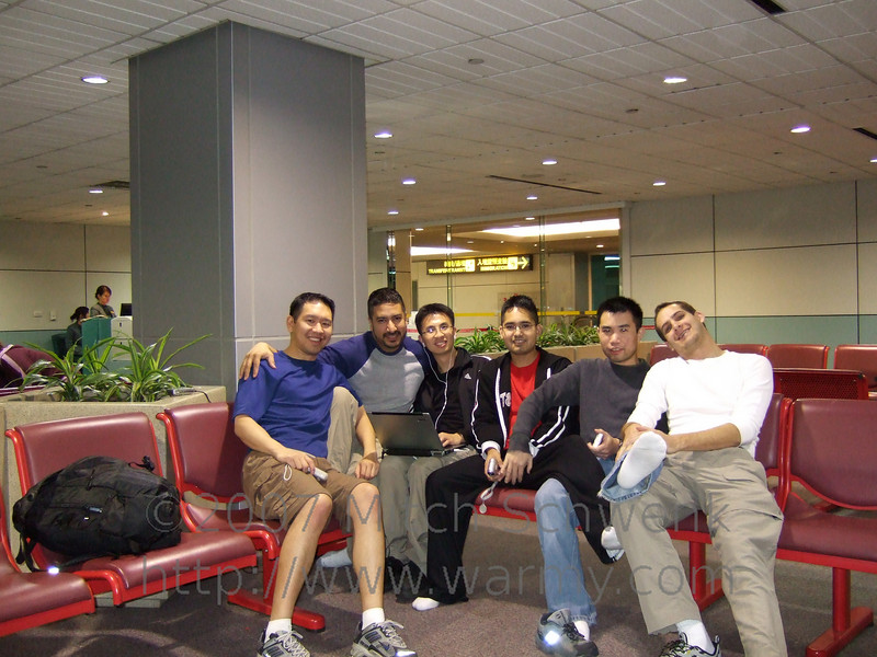 Albert, Robert, Chris, Alex, Dave, and myself in the Taipei airport, waiting four hours for our next plane.  The airline gave us food and drinks since the original layover was supposed to be 45 minutes.