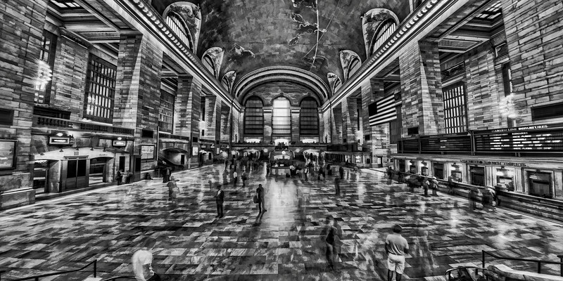 New York Grand Central Terminal black and white painted style