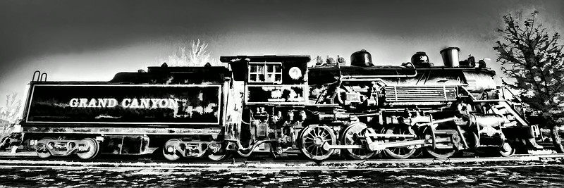 USA Grand Canyon Railway black and white painted style