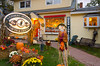 A Vermont country store with fall decor in Stowe, Vermont.