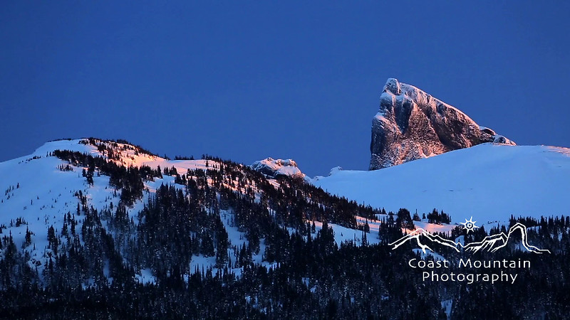 Last light on the Black Tusk from the Callaghan Valley in Winter Stock video footage by Mitch Winton - coastphoto.com