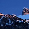 Last light on the Black Tusk from the Callaghan Valley in Winter<br /> Stock video footage by Mitch Winton - coastphoto.com