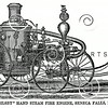 Vintage 1800s Sepia Illustration of a Fire Engine.  The natural patina, age-toning, imperfections, and old paper antiquing of this vintage 19th century illustration are preserved in this image.