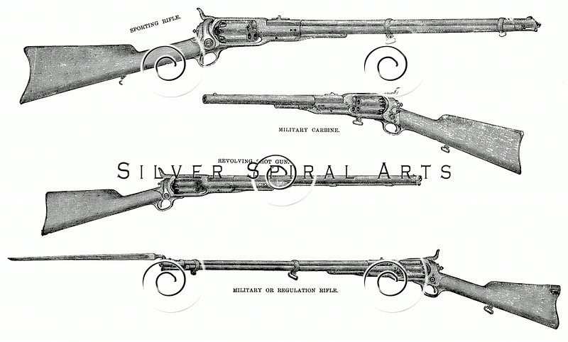 Vintage 1800s Sepia Illustration of Shot Guns and Rifles.  The natural patina, age-toning, imperfections, and old paper antiquing of this vintage 19th century illustration are preserved in this image.