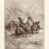 Vintage 1800s Sepia Illustration of Sparrow Birds from ANIMATED CREATION by Rev. Wood.  The natural patina, age-toning, imperfections, and old paper antiquing of this vintage 19th century illustration are preserved in this image.