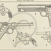 Vintage 1800s Sepia Illustration of Pistols and Revolver Guns.  The natural patina, age-toning, imperfections, and old paper antiquing of this vintage 19th century illustration are preserved in this image.
