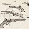 Vintage 1800s Sepia Illustration of Guns.  The natural patina, age-toning, imperfections, and old paper antiquing of this vintage 19th century illustration are preserved in this image.