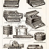 Vintage illustration of Typewriters from Meyers Konversations Lexikon 1913 Encyclopedia.  Antique digital download of old print - typewriter; type; keys; keyboard; letters; alphabet; writer; mechnical; steampunk; machine; machinery; tool; household; equipment.  The natural age-toning, paper stains, and antique printing imperfections are preserved in this 1900s stock image.