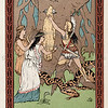 Vintage 1800s Color Chromolithograph Illustration of Man with Woman and Harp Player from GREEK FAIRY TALES by Charles Kingsley.  The natural patina, age-toning, imperfections, and old paper antiquing of this vintage 19th century illustration are preserved in this image.