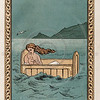 Vintage 1800s Color Chromolithograph Illustration of Perseus and Mother at Sea from GREEK FAIRY TALES by Charles Kingsley.  The natural patina, age-toning, imperfections, and old paper antiquing of this vintage 19th century illustration are preserved in this image.