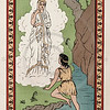 Vintage 1800s Color Chromolithograph Illustration of Boy with Goddess from GREEK FAIRY TALES by Charles Kingsley.  The natural patina, age-toning, imperfections, and old paper antiquing of this vintage 19th century illustration are preserved in this image.