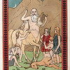 Vintage 1800s Color Chromolithograph Illustration of Centaur and