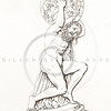 Vintage 1800s Sepia Illustration of Greek God.