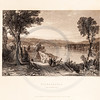 Vintage illustration of Lake from American Scenery by W.H. Bartlett, 1839.  Antique digital download of old print - lake, river, pond, bridge, trees, nature, landscape, American, America.  The natural age-toning, paper stains, and antique printing imperfections are preserved in this 1800s stock image.
