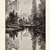 Vintage illustration of Mirror Lake at Yosemite from 1887.  The natural age-toning, paper stains, and antique printing imperfections are preserved in this 1800s vintage stock image.