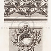 Vintage 1800s Sepia Illustration of Ornamental Decorative Carved Wall Design from GEWERBEHALLE by Willhelm Baumer.  The natural patina, age-toning, imperfections, and old paper antiquing of this vintage 19th century illustration are preserved in this image.
