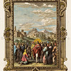 Vintage 1700s color illustration- Hand colored copper religious engraving  PHYSICA SACRA by Johann Scheuchzer in Germany in 1731