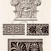 Vintage 1800s Sepia Illustration of Ornamental Decorative Architecture Pattern Design Detail from GEWERBEHALLE by Willhelm Baumer.  The natural patina, age-toning, imperfections, and old paper antiquing of this vintage 19th century illustration are preserved in this image.