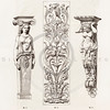 Vintage 1800s Sepia Illustration of Ornamental Decorative Archit