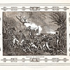 Vintage 1800s Sepia Illustration of the Battle of Princeton with decorative Frame - LIVES OF THE HEROS OF THE AMERICAN REVOLUTION by John Frost.