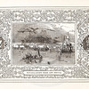 Vintage 1800s Sepia Illustration of Naval Battle Ships in Port with Decorative Frame - LIVES OF THE HEROS OF THE AMERICAN REVOLUTION by John Frost.