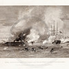 Vintage 1800s Black & White Illustration of Naval Conflict Between the Monitor and the Merrimac - NATIONAL HISTORY OF THE WAR FOR THE UNION by E.A. Duyckinck.