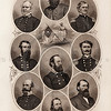 Vintage 1800s Steel Engraving Sepia Illustration of Confederate Generals portraits from THE GREAT REBELLION, A HISTORY OF THE CIVIL WAR by J.T. Headley.  The natural patina, age-toning, imperfections, and old paper antiquing of this vintage 19th century illustration are preserved in this image.