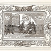 Vintage 1800s Sepia Illustration of a Meeting of Generals with Decorative Frame - LIVES OF THE HEROS OF THE AMERICAN REVOLUTION by John Frost.