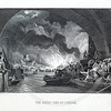 Vintage 1800s Sepia Steel Engraving Illustration of the Fire of London from THE NATIONAL AND DOMESTIC HISTORY OF ENGLAND by W.H.S. Aubrey.  The natural patina, age-toning, imperfections, and old paper antiquing of this vintage 19th century illustration are preserved in this image.