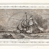Vintage 1800s Sepia Illustration of Naval Battle Ships with Decorative Frame - LIVES OF THE HEROS OF THE AMERICAN REVOLUTION by John Frost.