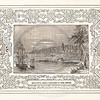Vintage 1800s Sepia Illustration of Ships Near a Port with Decorative Frame - LIVES OF THE HEROS OF THE AMERICAN REVOLUTION by John Frost.