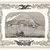 Vintage 1800s Sepia Illustration of Ships with Decorative Frame - LIVES OF THE HEROS OF THE AMERICAN REVOLUTION by John Frost.