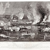 Vintage 1800s Sepia Steel Engraving Illustration of Naval Attack from THE GREAT REBELLION by J.T. Headley.  The natural patina, age-toning, imperfections, and old paper antiquing of this vintage 19th century illustration are preserved in this image.