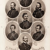 Vintage 1800s Steel Engraving Sepia Illustration of Union Generals portraits from THE GREAT REBELLION, A HISTORY OF THE CIVIL WAR by J.T. Headley.  The natural patina, age-toning, imperfections, and old paper antiquing of this vintage 19th century illustration are preserved in this image.