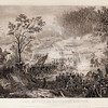 Vintage 1800s Steel Engraving Sepia Illustration of Civil War Battle Scene from THE GREAT REBELLION, A HISTORY OF THE CIVIL WAR by J.T. Headley.  The natural patina, age-toning, imperfections, and old paper antiquing of this vintage 19th century illustration are preserved in this image.