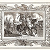 Vintage 1800s Sepia Illustration of a Battle with Decorative Frame - LIVES OF THE HEROS OF THE AMERICAN REVOLUTION by John Frost.