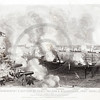 Vintage 1800s Sepia Steel Engraving Illustration of Naval Atack on Port Royal from THE GREAT REBELLION by J.T. Headley.  The natural patina, age-toning, imperfections, and old paper antiquing of this vintage 19th century illustration are preserved in this image.