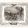 Vintage 1800s Sepia Illustration of the Retreat from Long Island with Decorative Frame - LIVES OF THE HEROS OF THE AMERICAN REVOLUTION by John Frost.