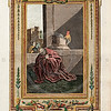 Vintage 1700s Color Illustration of Jesus Christ with Decorative Frame from DR. WRIGHT'S NEW AND COMPLETE LIFE OF CHRIST by Birdsall.  The natural patina, age-toning, imperfections, and old paper antiquing of this vintage 18th century illustration are preserved in this image.