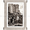 Vintage 1800s Sepia Biblical Illustration with Decorative Frame  - THE BIBLE, TRANSLATION OF THE VULGATE by De Sacy, published in Paris, France.