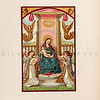 Vintage illustration of the Virgin Mary with Baby Jesus.  Antique digital download of old print - Jesus, baby, Christ, Angel, angels, religion, religious, Christian, Christianity, holy, virgin, Mary, color.  The natural age-toning, paper stains, and antique printing imperfections are preserved in this 1800s stock image.