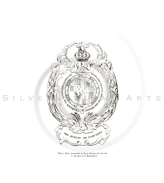 Vintage 1800s Sepia Illustration of a Silver Ornament by King Charles the Second - AMERICAN HISTORICAL & LITERARY CURIOSITIES by J.J. Smith.