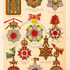Vintage illustration of Royal Medals from Meyers Konversations Lexikon 1913 Encyclopedia.  Antique digital download of old print - royal; heraldry; medal; medals; coat; arms; pin; jewelry; ornate; decorative.  The natural age-toning, paper stains, and antique printing imperfections are preserved in this 1900s stock image.