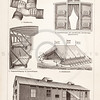 Vintage sepia illustration of Portable houses from Meyers Konversations Lexikon 1913 Encyclopedia.  Antique digital download of old print - tent; portable; trailer; bunk; bunker; mobile home; house; structure; flags.  The natural age-toning, paper stains, and antique printing imperfections are preserved in this 1900s stock image.