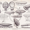Vintage illustration of Blimps and Aircrafts from Meyers Konversations Lexikon 1913 Encyclopedia.  Antique digital download of old print - blimp; airplane; plane; air; flying; craft; aircraft; mechanical; machine; machinery; steampunk.  The natural age-toning, paper stains, and antique printing imperfections are preserved in this 1900s stock image.