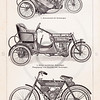 Vintage illustration of Motor Bikes from Meyers Konversations Lexikon 1913 Encyclopedia.  Antique digital download of old print - motocycle; motor bike; bike; bicycle; steampunk; automobile; motor; auto; vehicle; wheels; transport.  The natural age-toning, paper stains, and antique printing imperfections are preserved in this 1900s stock image.