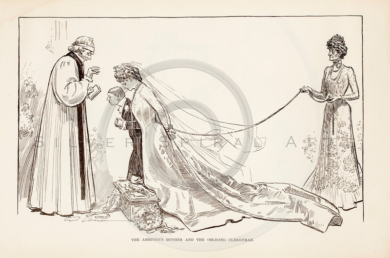Vintage 1900s Sepia Gibson Girl Illustration of a Bride Walking the Aisle from THE GIBSON BOOK by Charles Gibson.  The natural patina, age-toning, imperfections, and old paper antiquing of this vintage 20th century illustration are preserved in this image.